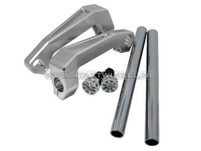 Lenker Aluminium, Gabelbefestigung, Dax, Monkey, 30mm, Silber