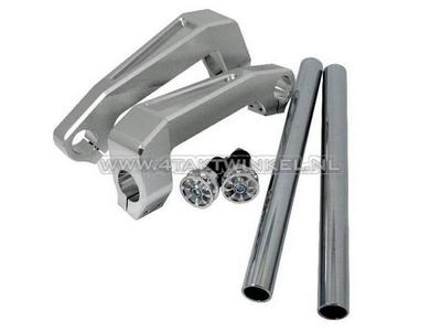 Lenker Aluminium, Gabelbefestigung, Dax, Monkey, 26mm, Silber