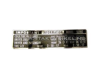 Aufkleber SS50 Kettenschutz Reifeninformationen