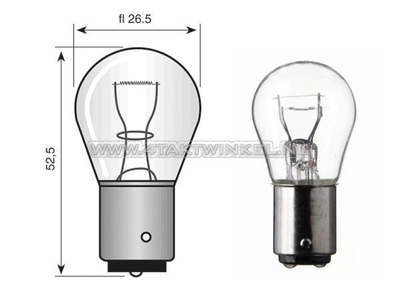 Glühlampe BA15-S, 12 Volt, 21 Watt große Glühlampe