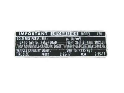 Aufkleber C50 Kettenschutz Reifen Informationen