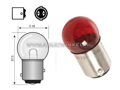 Hecklampe Duplo BAY15D, 6 Volt, 18-5 Watt, kleine Lampe, rot