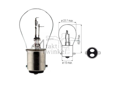 Scheinwerfer Lampe BAX15D, Doppelt, 6 Volt, 25-25 Watt, zB SS50, CD50