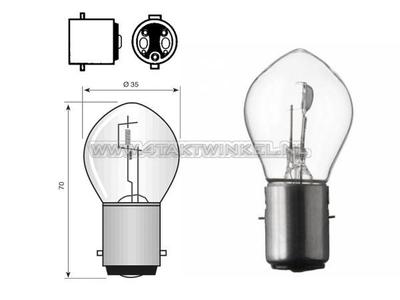 Scheinwerfer Lampe BA20d, Doppelt, 6 Volt, 25-25 Watt, zB Dax