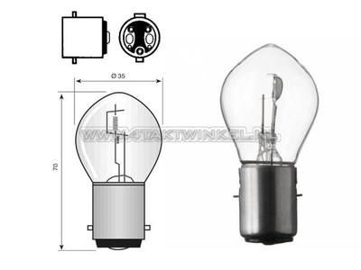 Scheinwerfer Lampe BA20d, Doppelt, 12 Volt, 25-25 Watt, zB Skyteam, MASH