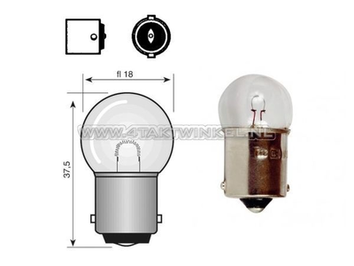 Glühlampe BA15-S, 12 Volt, 15 Watt, kleine Glühlampe