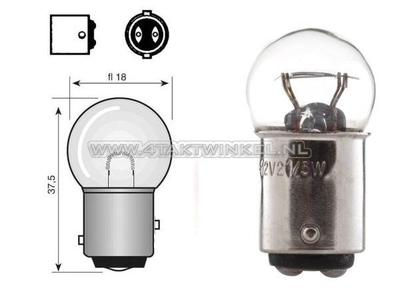 Hecklampe Duplo BAY15D, 6 Volt, 18-5 Watt, kleine Glühlampe