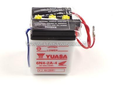 Batterie 6 Volt 4 Ampere, C50, CB50, Bleibatterie, Yuasa, original Honda