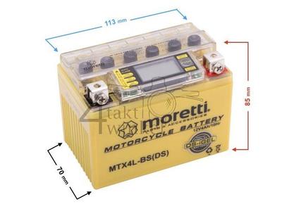 Batterie 12 Volt 4 Ampere Gel / AGM, MTX4L-BS, mit Voltanzeige