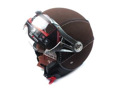 Helm MT, Le Mans Soul Retro, Leder braun, Größen XS bis XXL
