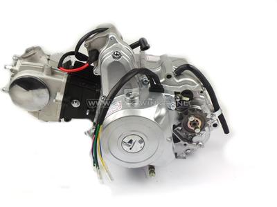 Motor, 50 ccm, manuelle Kupplung, 4-Gang, Anlasser oben, silber