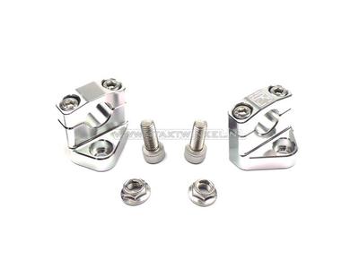 Lenkerklemmen / Riser, Universal, mit Versatz, Silber, Kepspeed