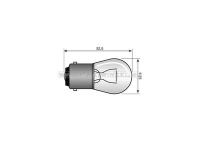 Glühlampe BA15-S, 12 Volt, 15 Watt mittelgroße Glühlampe