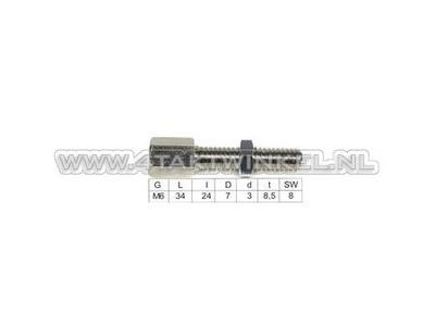 Kabeleinsteller, M6-Gewinde mit Schlitz und Einstellmutter