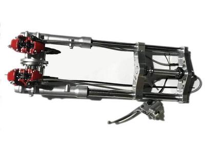 Gabel komplett, Dax, 30mm, doppelte schwimmende Bremsscheibe