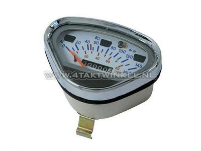 Tachometer Dax bis 140 km/h Nachfertigung weiß, mit leerem Tanklicht