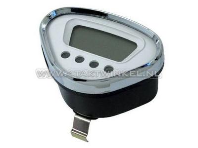 Tachometer Dax digital, weiß mit Chromkante
