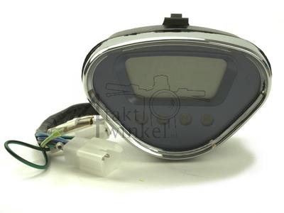 Tachometer Dax digital, blau mit Chromkante