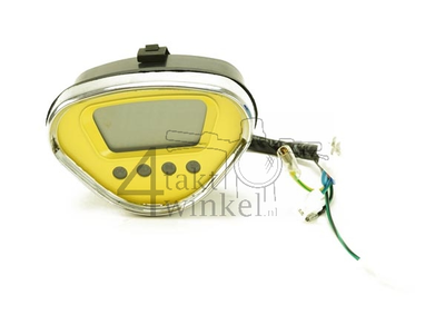 Tachometer Dax digital, Gelb mit Chromkante