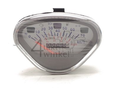 Tachometer Dax bis 70 km/h Nachfertigung weiß, mit leerem Tanklicht